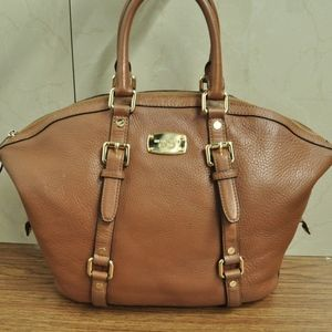 Michael Kors Brown Pebble Leather Satchel Bag